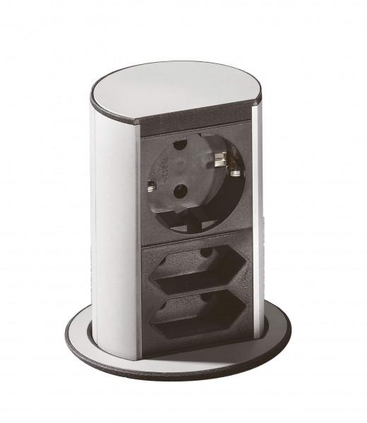 Elevator alufarbig 1 Schuko-und 2 Euro-Steckdosen