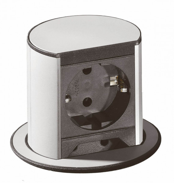 Elevator Steckdosen-Element alufarbig 2-Schuko