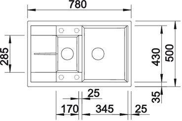 Blanco - BLANCOMETRA 6 S Compact SILGRANIT® PuraDur® II alumetallic mit Ablauffernbedienung