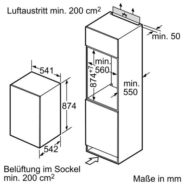Neff - integrierbarer Kühlautomat K 215 A1, 88cm Nische