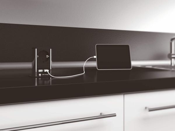 Elevator edelstahlfarbig Steckdosen-Element 1 Schuko-und 2 USB-Port