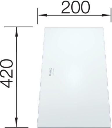 Blanco Glasschneidbrett weiß satiniert 420 x 200 mm