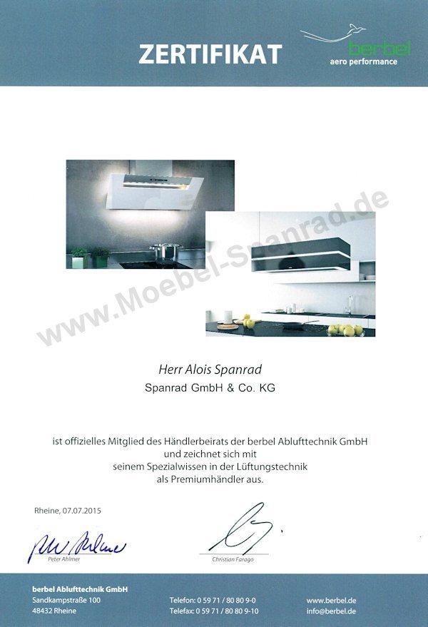 Zertifikat Berbel Händlerbeirat